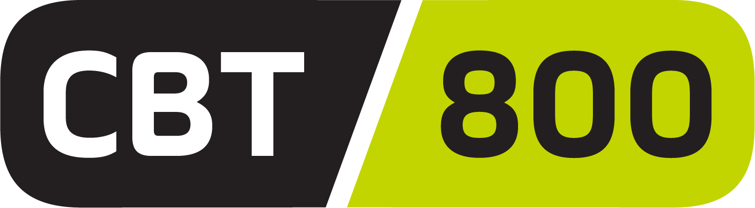 Lime green and grey logo for CBT 800