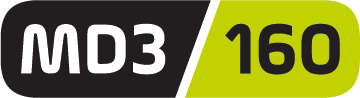 Lime green and grey logo for MD3 160